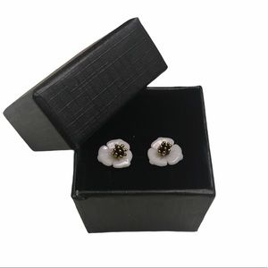 Lily Flower Stud Earrings White and Gold